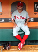 Kevin Frandsen of the Philadelphia Phillies gets ready in the dugout before the game against the San Francisco Giants at ATT Park on Wednesday May 8...
