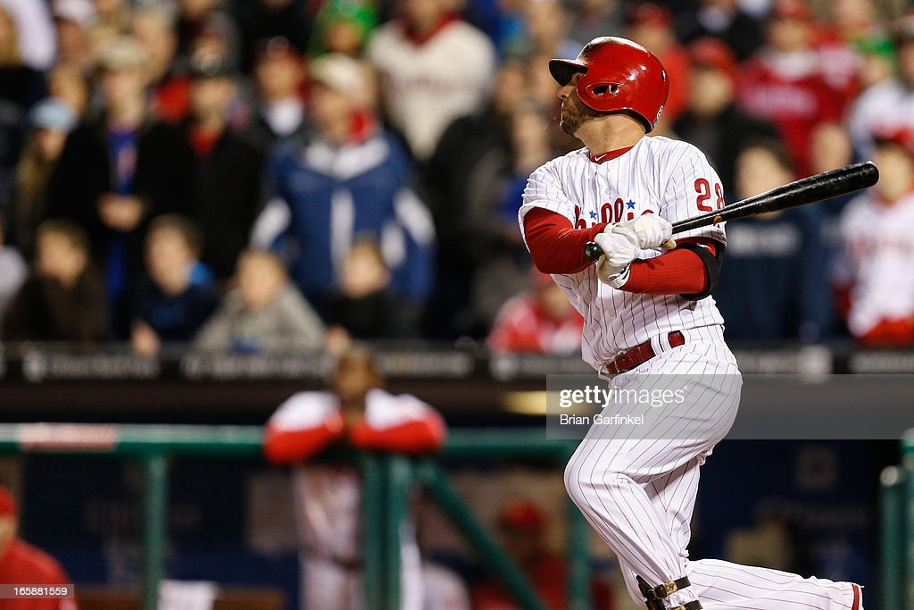 <a gi-track='captionPersonalityLinkClicked' href=/galleries/search?phrase=Kevin+Frandsen&family=editorial&specificpeople=3982842 ng-click='$event.stopPropagation()'>Kevin Frandsen</a> #28 of the Philadelphia Phillies hits a three RBI double in the bottom of the ninth inning to win the game against the Kansas City Royals at Citizens Bank Park on April 6, 2013 in Philadelphia, Pennsylvania. The Phillies won 4-3.