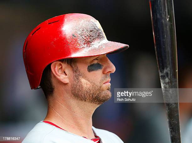 Kevin Frandsen of the Philadelphia Phillies in action against the New York Mets on August 29 2013 at Citi Field in the Flushing neighborhood of the...