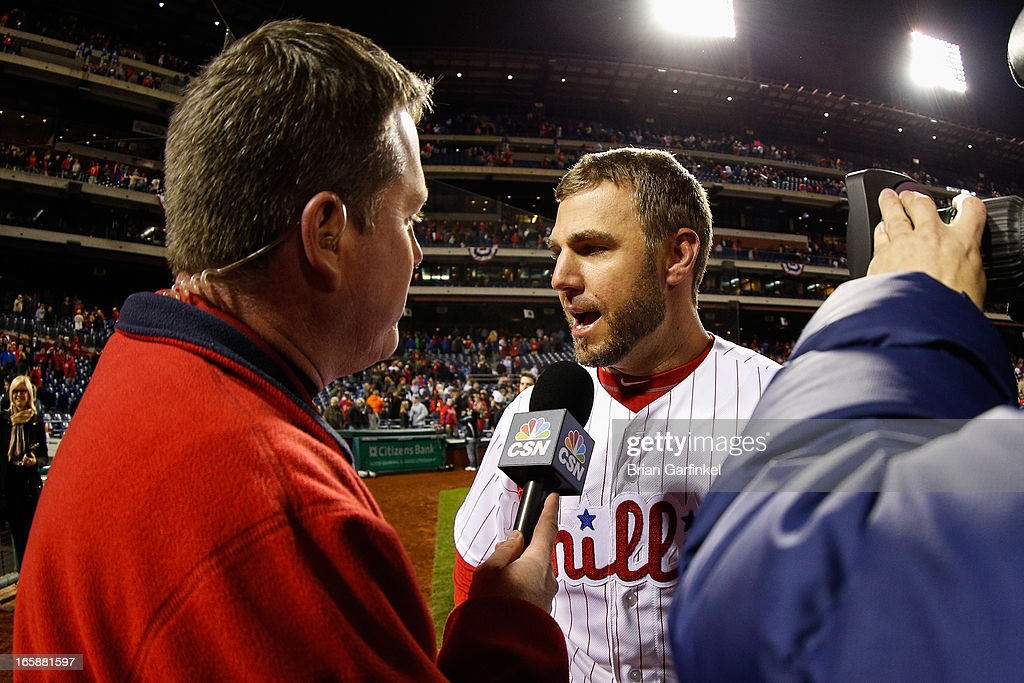 <a gi-track='captionPersonalityLinkClicked' href=/galleries/search?phrase=Kevin+Frandsen&family=editorial&specificpeople=3982842 ng-click='$event.stopPropagation()'>Kevin Frandsen</a> #28 of the Philadelphia Phillies is interviewed by the Media after hitting a three RBI double in the bottom of the ninth inning to win the game against the Kansas City Royals at Citizens Bank Park on April 6, 2013 in Philadelphia, Pennsylvania. The Phillies won 4-3.
