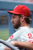 Kevin Frandsen of the Philadelphia Phillies looks on during the game against the Los Angeles Dodgers at Dodger Stadium on June 30 2013 in Los Angeles...