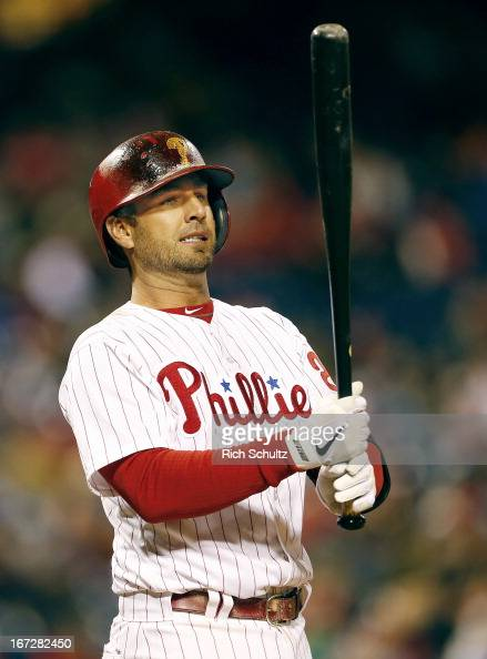 Kevin Frandsen of the Philadelphia Phillies reacts to a pitch against of the St Louis Cardinals in a MLB baseball game on April 20 2013 at Citizens...