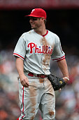 Kevin Frandsen of the Philadelphia Phillies stands on the field during the game against the San Francisco Giants at ATT Park on Wednesday May 8 2013...