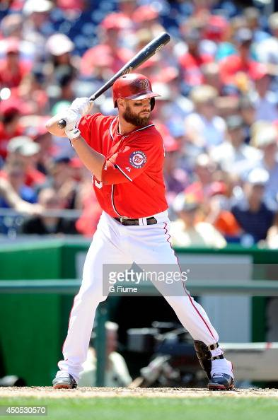 Kevin Frandsen of the Washington Nationals bats against the Texas Rangers at Nationals Park on May 31 2014 in Washington DC