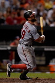 Kevin Frandsen of the Washington Nationals flies out to center field against the Baltimore Orioles in the seventh inning during a game at Oriole Park...