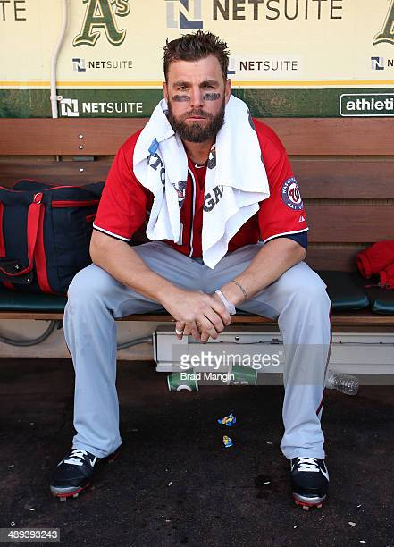 Kevin Frandsen of the Washington Nationals gets ready in the dugout before the game against the Oakland Athletics at Oco Coliseum on Saturday May 10...