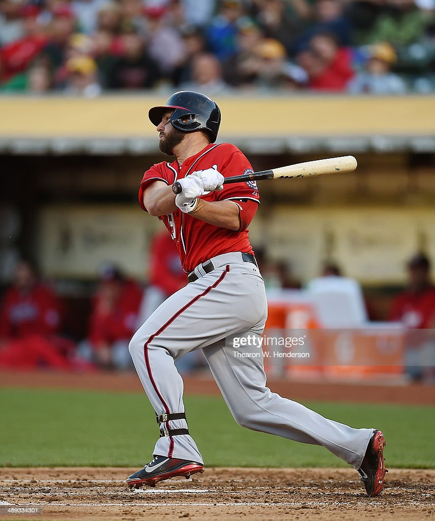 <a gi-track='captionPersonalityLinkClicked' href=/galleries/search?phrase=Kevin+Frandsen&family=editorial&specificpeople=3982842 ng-click='$event.stopPropagation()'>Kevin Frandsen</a> #19 of the Washington Nationals hits a two-run double in the top of the third inning against the Oakland Athletics at O.co Coliseum on May 10, 2014 in Oakland, California. Zach Walters and Denard Span scored on the double.