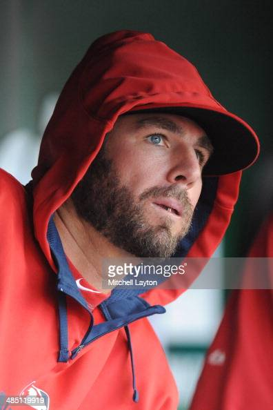 Kevin Frandsen of the Washington Nationals looks on before a game against the Miami Marlins on April 8 2014 at Nationals Park in Washington DC The...