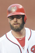 Kevin Frandsen of the Washington Nationals looks on during a baseball game against the Cincinnati Reds on May 21 2014 at Nationals Park in Washington...