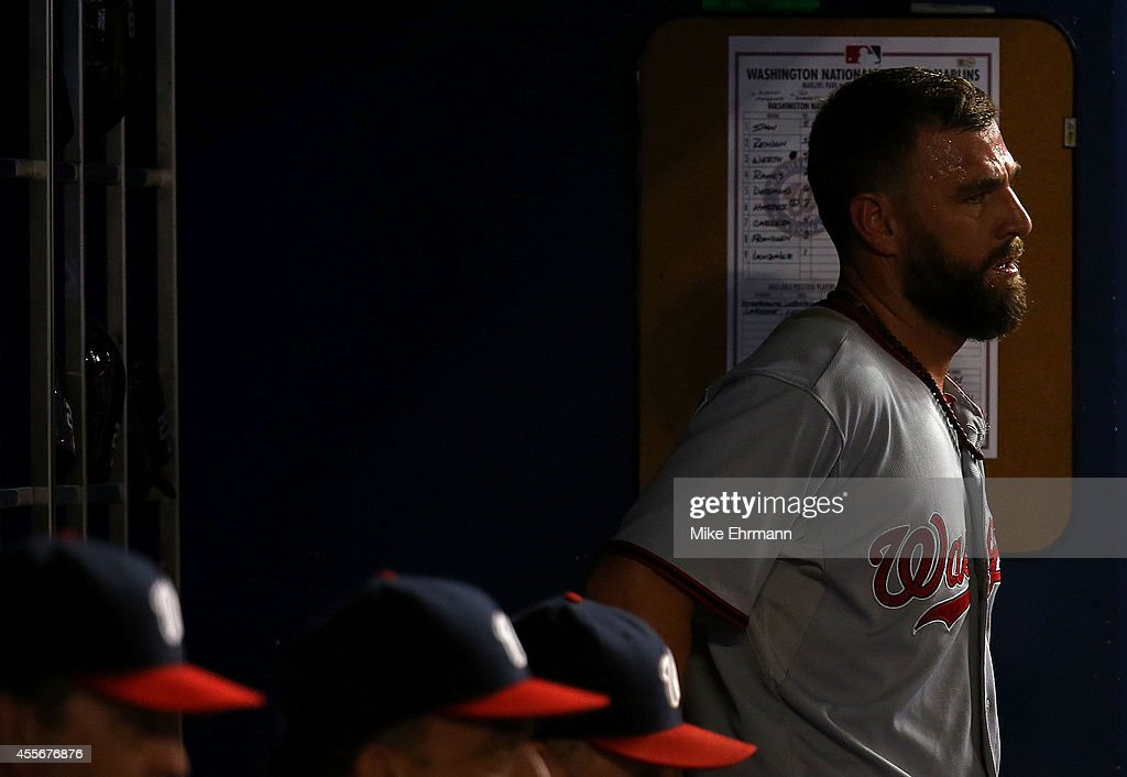 Kevin Frandsen #19 of the Washington Nationals looks on during a game against the Miami Marlins at Marlins Park on September 18, 2014 in Miami, Florida.