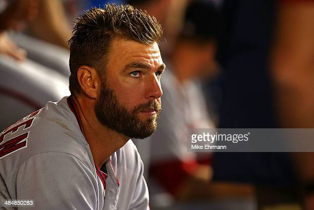 Kevin Frandsen of the Washington Nationals looks on during a game against the Miami Marlins at Marlins Park on April 14 2014 in Miami Florida