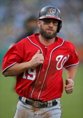 Kevin Frandsen of the Washington Nationals runs the bases against the Oakland Athletics during the game at Oco Coliseum on Saturday May 10 2014 in...