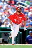 Kevin Frandsen of the Washington Nationals runs towards first base during the game against the Texas Rangers at Nationals Park on May 31 2014 in...