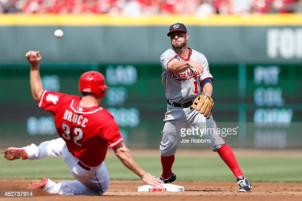 Kevin Frandsen of the Washington Nationals tries to turn a double play over Jay Bruce of the Cincinnati Reds in the second inning of the game at...