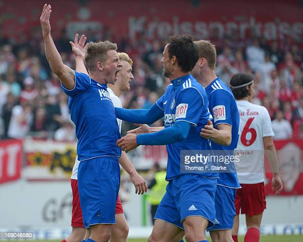 Kevin Freiberger of Lotte celebrates scoring his teams first goal during the Regionalliga West match between Sportfreunde Lotte and RW Essen at...