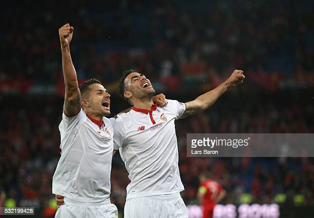 Kevin Gameiro and Adil Rami of Sevilla celebrate their 31 win in the UEFA Europa League Final match between Liverpool and Sevilla at St JakobPark on...