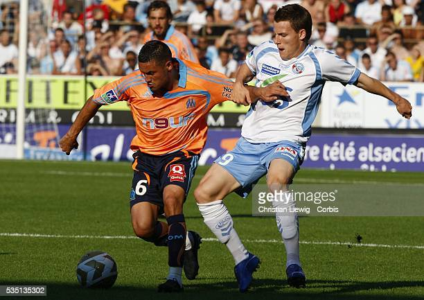 Kevin Gameiro and Karim Ziani during the Ligue 1 match between RC Strasbourg and Olympique de Marseille