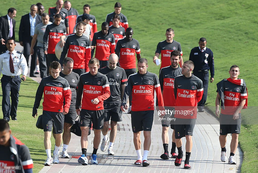 Kevin Gameiro, Clement Chantome, Sylvain Armand, Thiago Motta, Jeremy Menez, Marco Verratti lead the team PSG on its way to the Paris Saint Germain Training Camp held at the Aspire Academy for Sports Excellence on December 30, 2012 in Doha, Qatar.