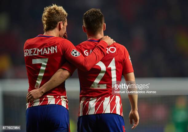 Kevin Gameiro of Atletico de Madrid celebrates scoring his team's second goal with his teammate Antoine Griezmann during the UEFA Champions League...