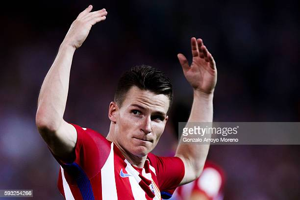 Kevin Gameiro of Atletico de Madrid celebrates scoring their opening goal during the La Liga match between Club Atletico de Madrid and Deportivo...