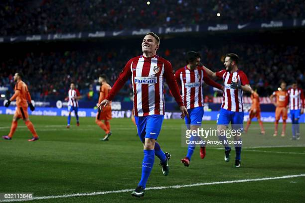 Kevin Gameiro of Atletico de Madrid celebrates scoring their third goal during the Copa del Rey quarterfinal match between Club Atletico de Madrid...