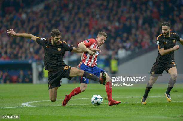 Kevin Gameiro of Atletico de Madrid figths for the ball with Federico Fazio of Roma during a match between Atletico Madrid and AS Roma as part of the...