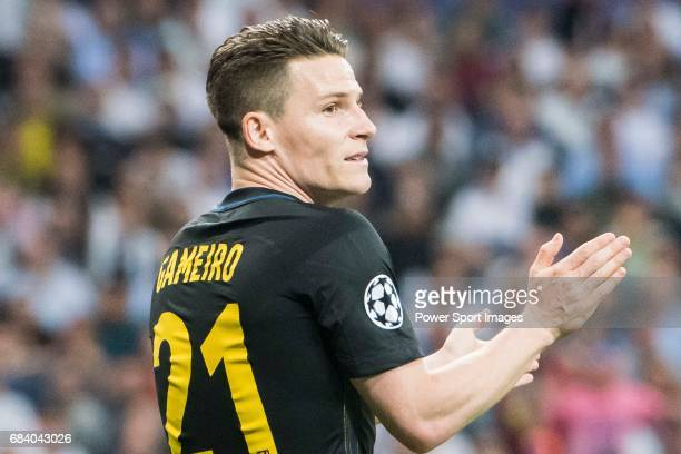 Kevin Gameiro of Atletico de Madrid reacts during their 201617 UEFA Champions League Semifinals 1st leg match between Real Madrid and Atletico de...