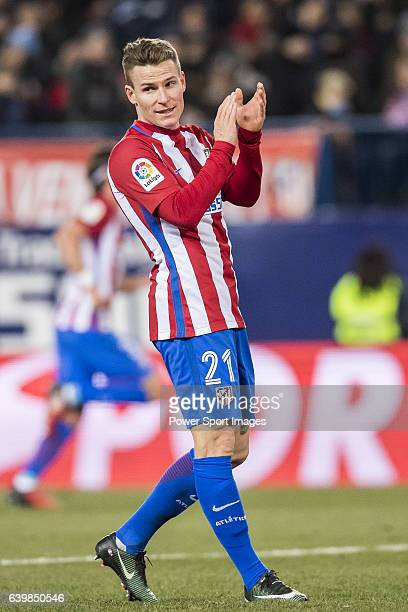 Kevin Gameiro of Atletico de Madrid reacts during their Copa del Rey 201617 Quarterfinal match between Atletico de Madrid and SD Eibar at the Vicente...