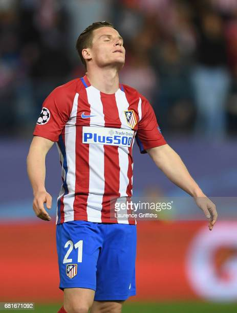 Kevin Gameiro of Atletico Madrid reacts during the UEFA Champions League Semi Final second leg match between Club Atletico de Madrid and Real Madrid...