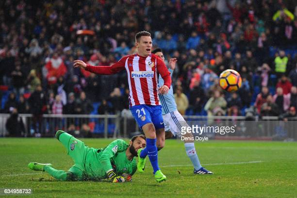 Kevin Gameiro of Club Atletico de Madrid hits the goalposts with his shot during the La Liga match between Club Atletico de Madrid and RC Celta de...