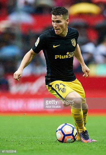 Kevin Gameiro of Club Atletico de Madrid in action on during the match between Sevilla FC vs Club Atletico de Madrid as part of La Liga at Estadio...