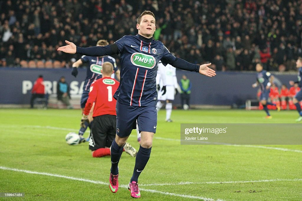 <a gi-track='captionPersonalityLinkClicked' href=/galleries/search?phrase=Kevin+Gameiro&family=editorial&specificpeople=815278 ng-click='$event.stopPropagation()'>Kevin Gameiro</a> of Paris Saint-Germain FC celebrates his goal during the French Cup between Paris Saint-Germain FC and Toulouse FC, at Parc des Princes on January 23, 2013 in Paris, France.
