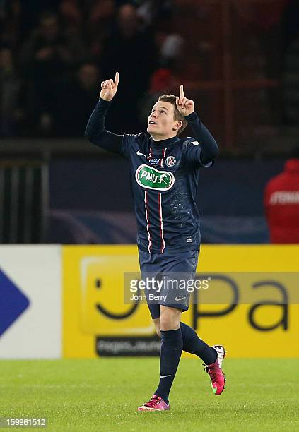 Kevin Gameiro of PSG celebrates his goal by paying homage to Nick Broad member of the PSG staff who died a week ago in a car accident during the...