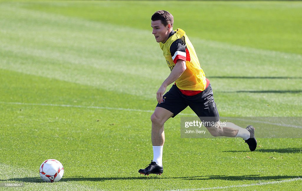 Kevin Gameiro of PSG in action during the Paris Saint Germain training camp held at the Aspire Academy for Sports Excellence on December 29, 2012 in Doha, Qatar.