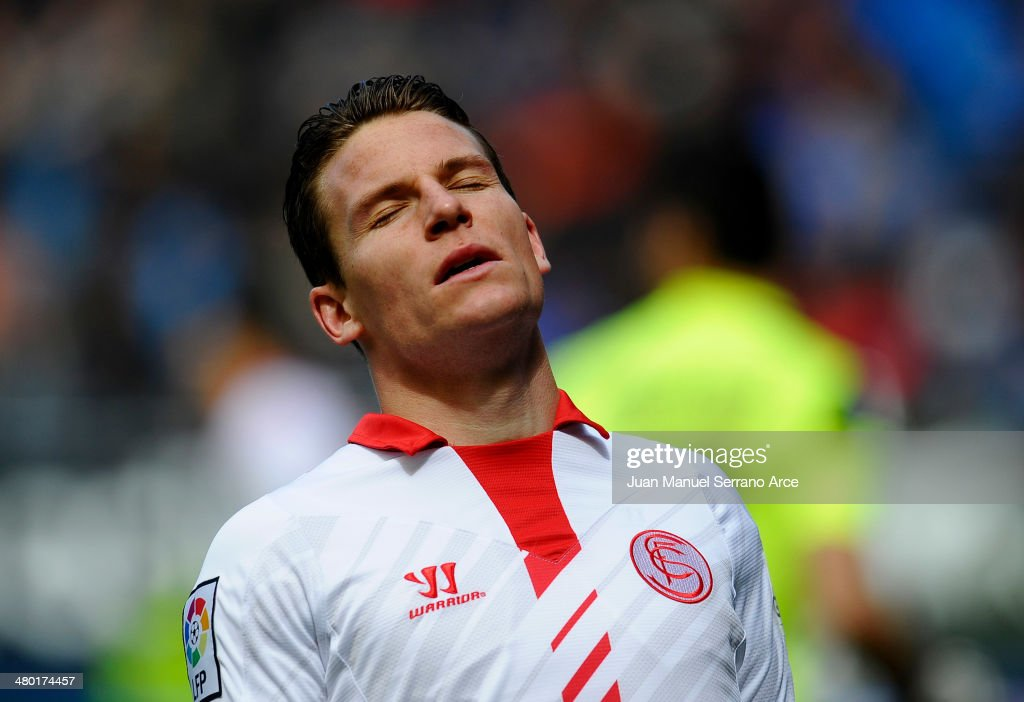 <a gi-track='captionPersonalityLinkClicked' href=/galleries/search?phrase=Kevin+Gameiro&family=editorial&specificpeople=815278 ng-click='$event.stopPropagation()'>Kevin Gameiro</a> of Sevilla CF reacts during the La Liga match between CA Osasuna and Sevilla FC at Estadio Reyno de Navarra on March 23, 2014 in Pamplona, Spain.