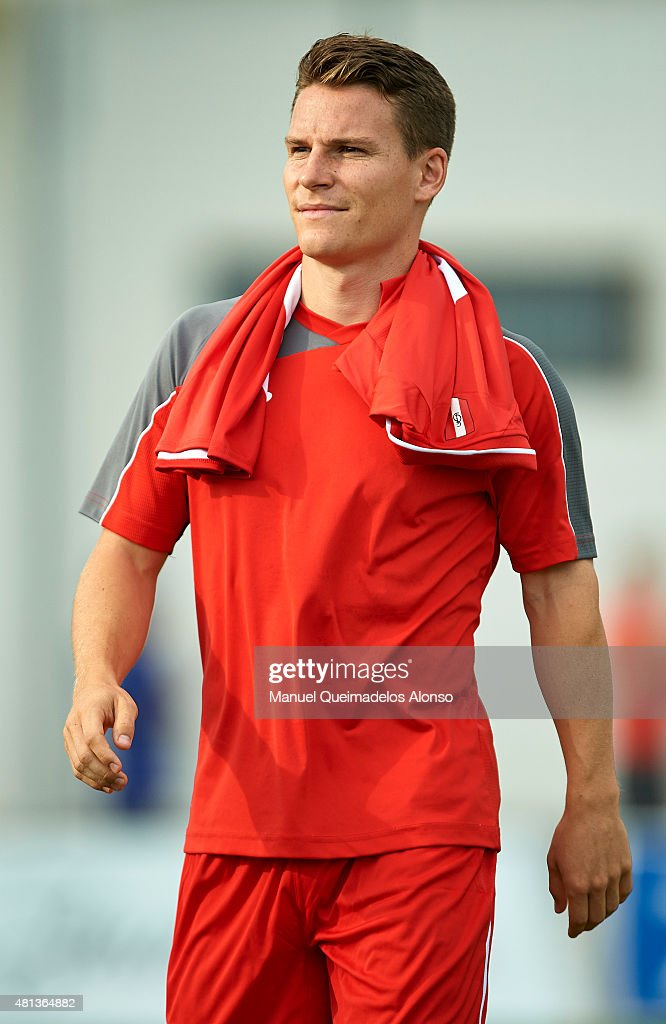 <a gi-track='captionPersonalityLinkClicked' href=/galleries/search?phrase=Kevin+Gameiro&family=editorial&specificpeople=815278 ng-click='$event.stopPropagation()'>Kevin Gameiro</a> of Sevilla looks on before a Pre Season Friendly match between Sevilla and Alcorcon at Pinatar Arena Stadium on July 19, 2015 in San Pedro de Pinatar, Spain.