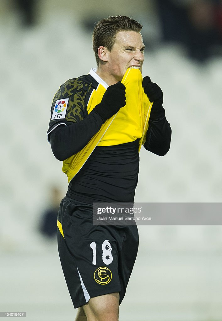 <a gi-track='captionPersonalityLinkClicked' href=/galleries/search?phrase=Kevin+Gameiro&family=editorial&specificpeople=815278 ng-click='$event.stopPropagation()'>Kevin Gameiro</a>Êof Sevilla FC reacts during the Copa del Rey Round of 32 match betweenÊ Racing Santander and Sevilla FC at El Sardinero on December 6, 2013 in Santander, Spain.Ê