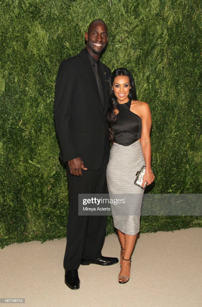 Kevin Garnett and Brandi Padilla attend CFDA and Vogue 2013 Fashion Fund Finalists Celebration at Spring Studios on November 11, 2013 in New York City.