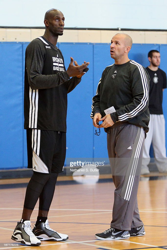Kevin Garnett #2 and Jason Kidd of the Brooklyn Nets during a team event in celebration of Veterans Day at Ft. Hamilton, Brooklyn on November 11, 2013 in the Brooklyn borough of New York City.