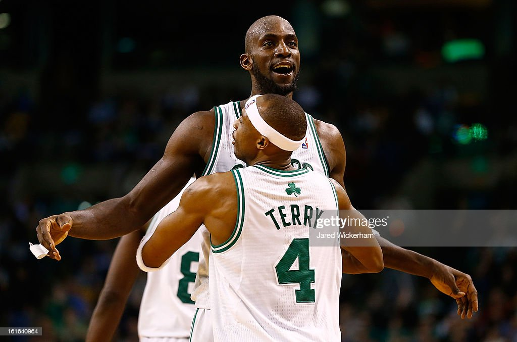 Kevin Garnett #5 and Jason Terry #4 of the Boston Celtics celebrate after a foul against the Chicago Bulls during the game on February 13, 2013 at TD Garden in Boston, Massachusetts.