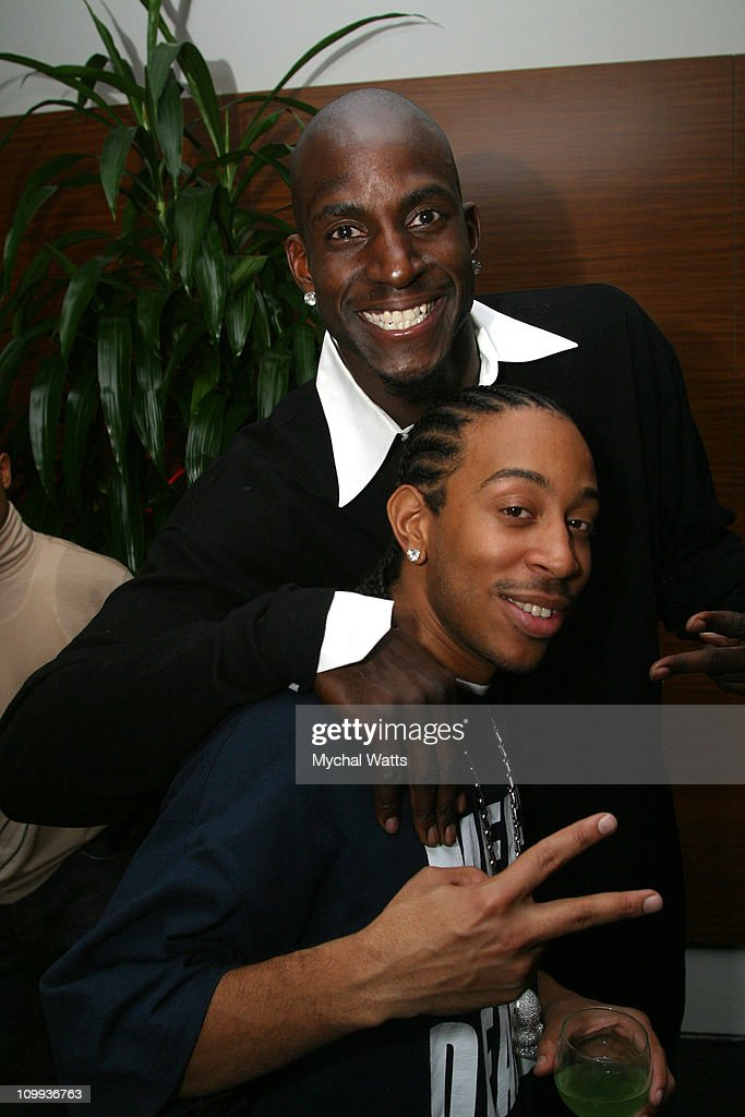 Kevin Garnett and Ludacris during GQ Magazine 2004 NBA All Star Party at Pacific Design Center in Los Angeles California United States
