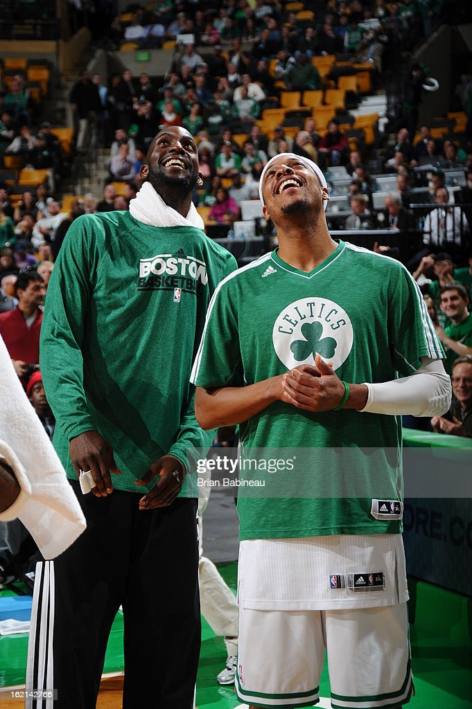 Kevin Garnett #5 and Paul Pierce #34 of the Boston Celtics look up at the scoreboard during the game against the Los Angeles Lakers on February 7, 2013 at the TD Garden in Boston, Massachusetts.