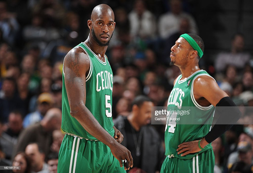 Kevin Garnett #5 and Paul Pierce #34 of the Boston Celtics share a word during the game against the Denver Nuggets on February 19, 2013 at the Pepsi Center in Denver, Colorado.