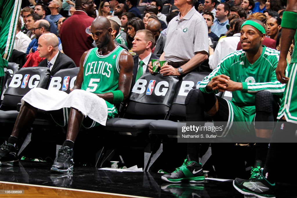Kevin Garnett #5 and Paul Pierce #34 of the Boston Celtics sit on the bench before resuming action against the Brooklyn Nets on November 15, 2012 at the Barclays Center in the Brooklyn borough of New York City.