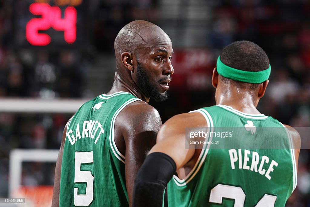 Kevin Garnett #5 and Paul Pierce #34 of the Boston Celtics walk off the court during the game against the Portland Trail Blazers on February 24, 2013 at the Rose Garden Arena in Portland, Oregon.