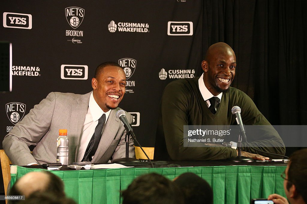 <a gi-track='captionPersonalityLinkClicked' href=/galleries/search?phrase=Kevin+Garnett&family=editorial&specificpeople=201473 ng-click='$event.stopPropagation()'>Kevin Garnett</a> #2 and <a gi-track='captionPersonalityLinkClicked' href=/galleries/search?phrase=Paul+Pierce&family=editorial&specificpeople=201562 ng-click='$event.stopPropagation()'>Paul Pierce</a> #34 of the Brooklyn Nets answers questions after the game against the Boston Celtics during a game at TD Garden in Boston.