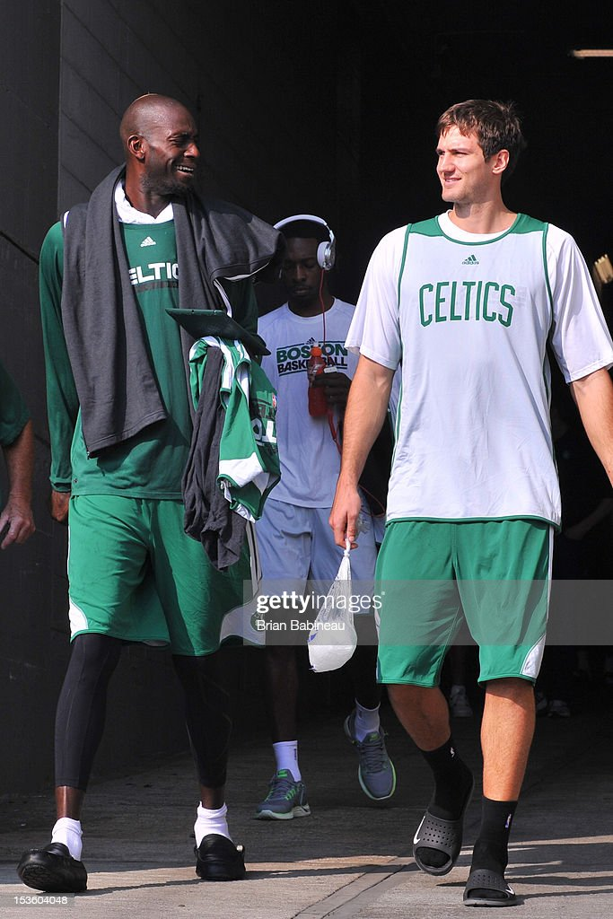 Kevin Garnett and Robert Kurz of the Boston Celtics leave the arena after the morning shoot around on October 7, 2012 at Mediolanum Forum in Milan, Italy.