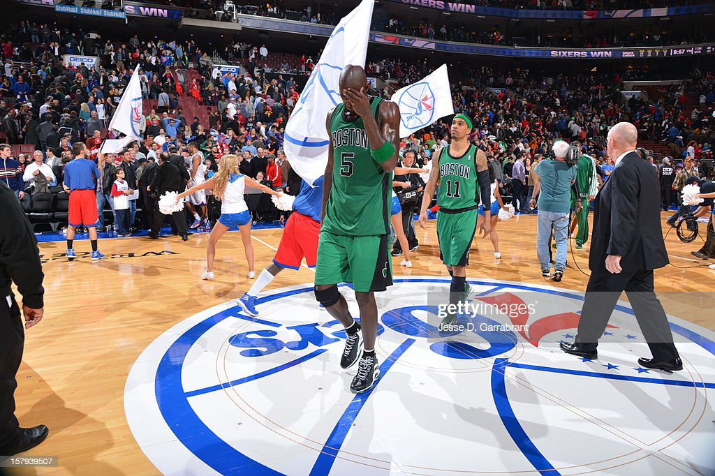 <a gi-track='captionPersonalityLinkClicked' href=/galleries/search?phrase=Kevin+Garnett&family=editorial&specificpeople=201473 ng-click='$event.stopPropagation()'>Kevin Garnett</a> #5 and the Boston Celtics falls to the Philadelphia 76ers in overtime at the Wells Fargo Center on December 7, 2012 in Philadelphia, Pennsylvania.