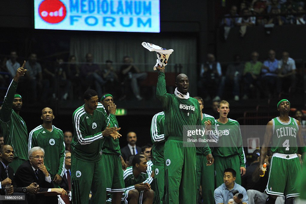 Kevin Garnett #5 and the Boston Celtics greet the crowd during the game between the Boston Celtics and the EA7 Emporio Armani Milano on October 7, 2012 at Mediolanum Forum in Milan, Italy.