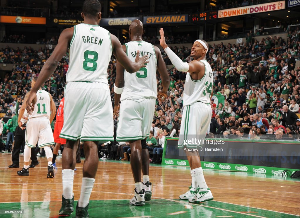 Kevin Garnett #5, Jeff Green #8 and Paul Pierce #34 of the Boston Celtics celebrate during the game between the Boston Celtics and the Los Angeles Clippers on February 3, 2013 at the TD Garden in Boston, Massachusetts.